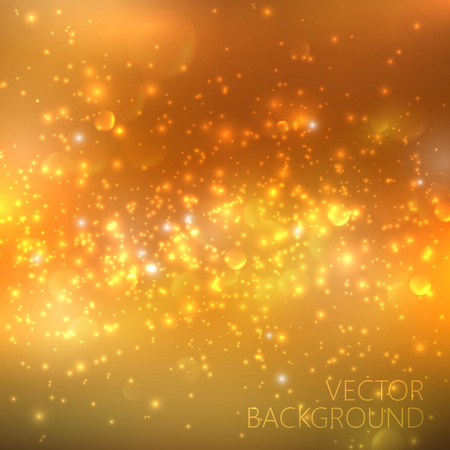 sparkles: Golden sparkling background with glowing sparkles and glitter. Shiny holiday illustration Illustration