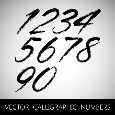 hand written: vector set of calligraphic marker or ink numbers