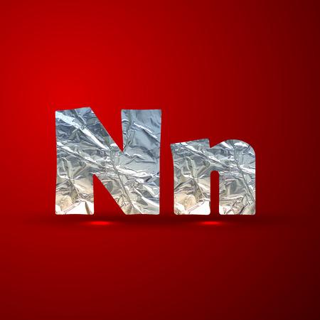 aluminum: vector set of aluminum or silver foil letters. Letter N