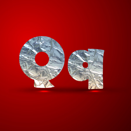 aluminum: vector set of aluminum or silver foil letters. Letter Q