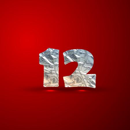 aluminum: vector set of aluminum or silver foil numbers 1,2