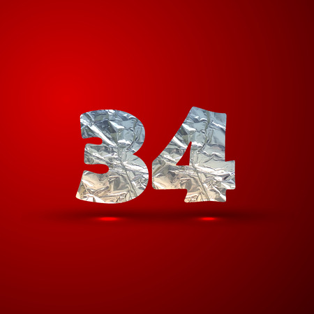 3 4: vector set of aluminum or silver foil numbers 3, 4
