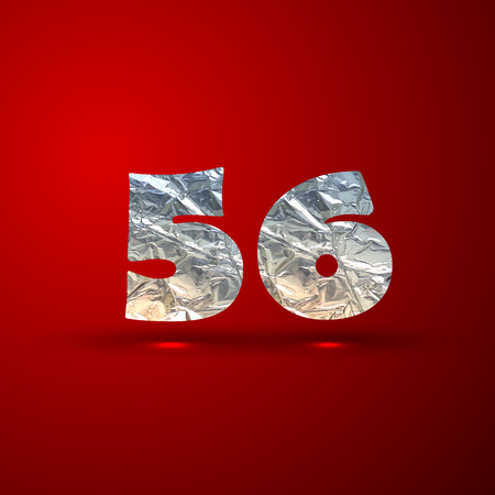 5 6: vector set of aluminum or silver foil numbers 5, 6