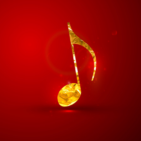 gold record: vector illustration of a golden metallic foil music note on the red vivid background with sparkles