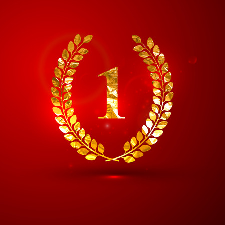 1 place: vector illustration of a golden metallic foil laurel wreath on the red vivid background with sparkles. The first place ( 1  place) Illustration
