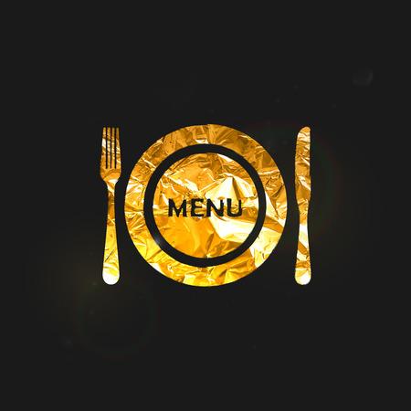fond restaurant: illustration vectorielle d'une plaque de feuille m�tallique or et couverts sur le fond noir. Restaurant conception de la couverture de menu