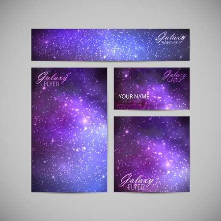set of vector visual corporate identity with galaxy Milky Way background. space background for web or printed media design. set of business brand stationery design template. banner, business card, flyer, invitation, greeting card and postcard Vector