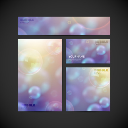 printed media: set of vector visual corporate identity with flying soap bubbles background. dreamy background for web or printed media design. set of business brand stationery design template. banner, business card, flyer, invitation, greeting card and postcard
