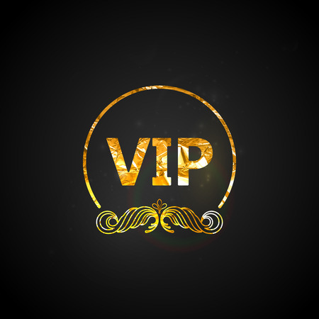 golden VIP card.vector black ornate background with golden wrinkled foil texture and sparkles Vector