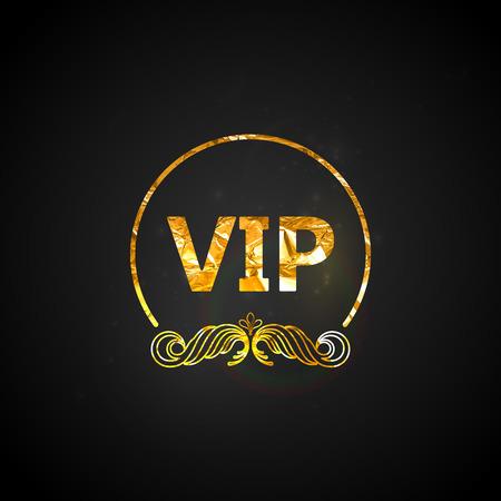 vip symbol: golden VIP card.vector black ornate background with golden wrinkled foil texture and sparkles