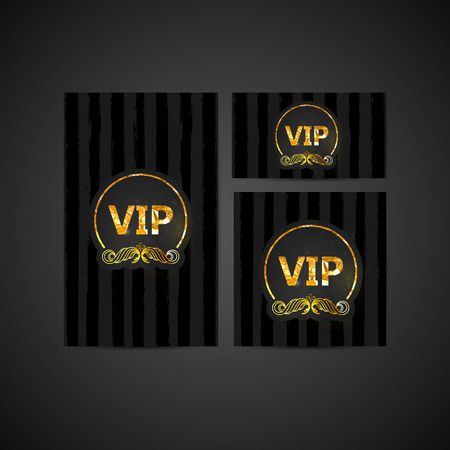 vector set of VIP cards with golden foil ornate emblem, striped texture and sparkles. Premium templates for web or printed media design. Vector