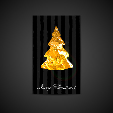 vector illustration of a Xmas postcard with golden foil Christmas tree symbol. Holiday postcard template for web or printed media design. Merry Christmas and Happy New Year Vector