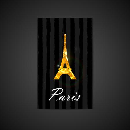 Vector elegant illustration of black card with golden foil Eiffel tower sign on brushed stripe texture. postcard design with a symbol of Paris Vector
