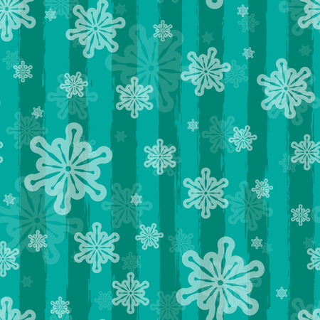 Holiday vector seamless background with brushed stripes and snowflakes Vector