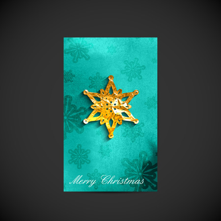 vector illustration of Christmas holiday postcard with golden foil snowflake or star on paint turquoise watercolor splash background. Holiday banner or greeting card template for web or printed media design. Merry Christmas and Happy New Year Vector