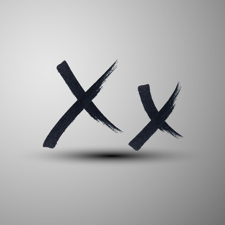 liquid x: vector calligraphic hand-drawn marker or ink letter X Illustration