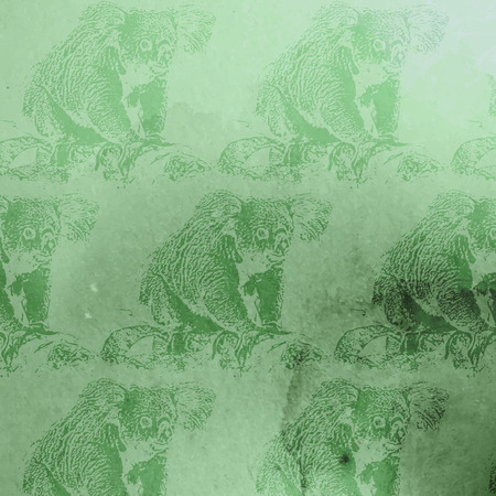 arboreal: vector vintage illustration of green watercolor koala bears pattern on the old paper texture