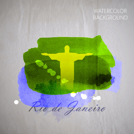 wrinkled: vector watercolor illustration of brazilian the Jesus Christ Redeemer statue on the old wrinkled paper background.