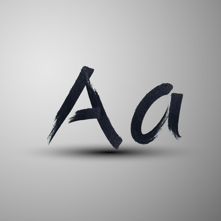write a letter: vector calligraphic hand-drawn marker or ink letter A