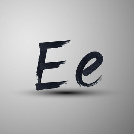 e liquid: calligraphic hand-drawn marker or ink letter E