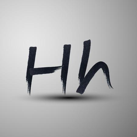 h: vector calligraphic hand-drawn marker or ink letter H Illustration