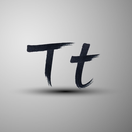 t background: vector calligraphic hand-drawn marker or ink letter T