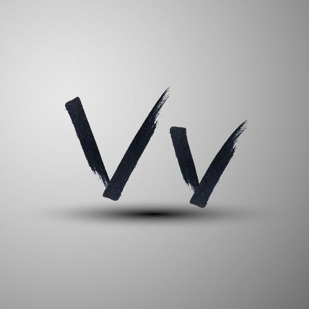 letter v: vector calligraphic hand-drawn marker or ink letter V