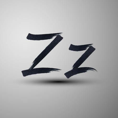 letter z: vector calligraphic hand-drawn marker or ink letter Z