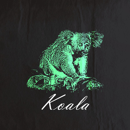 arboreal: vector vintage illustration of a green koala bear on the old black wrinkled paper texture