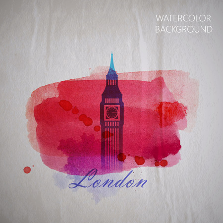 vector watercolor illustration of London Big Ben tower on the old wrinkled paper background