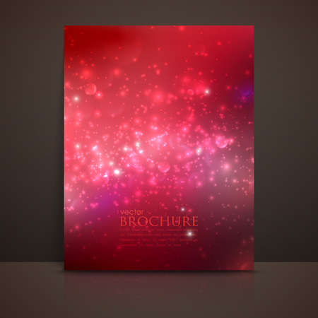 scarlet: scarlet (red) sparkling background with glowing sparkles and glitters. Shiny holiday vector brochure, flyer, postcard, invitation or greeting card template Illustration