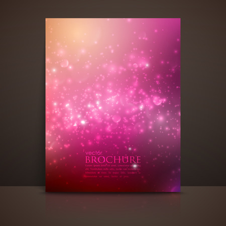 twinkles: multicolored sparkling background with glowing sparkles and glitters. Shiny holiday vector brochure, flyer, postcard, invitation or greeting card template Illustration
