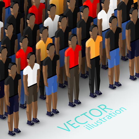 consumer society: vector isometric 3d  illustration of mens community with a large crowd of guys and men. social group concept Illustration