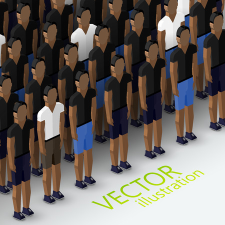 vector isometric 3d  illustration of mens community with a large crowd of guys and men. social group concept Vector