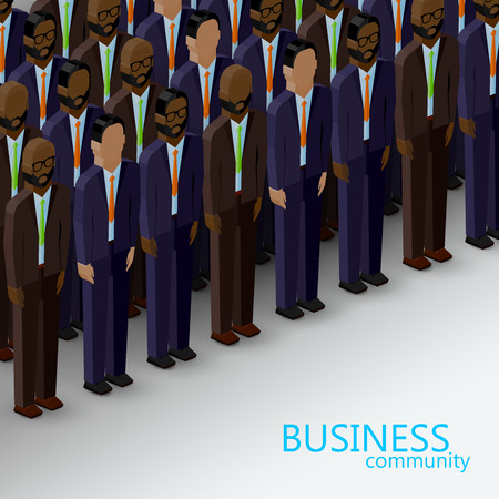 mature business man: vector 3d isometric  illustration of business or politics community. a large group of men (business men or politicians) wearing suits and ties. summit or conference family image Illustration