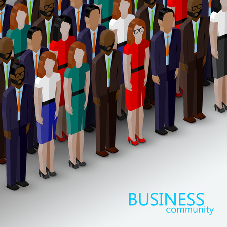 vector 3d isometric  illustration of business or politics community. a large group of well-dresses men and women (business men, women or politicians) wearing suits, ties and dresses. summit or conference family image
