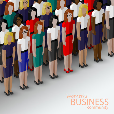 manager: vector 3d isometric  illustration of women business community. a large group of women (business women or politicians).  summit or conference family image
