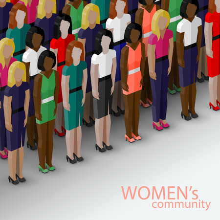 feminist: vector 3d isometric  illustration of women community with a large group of girls and women. feminist concept