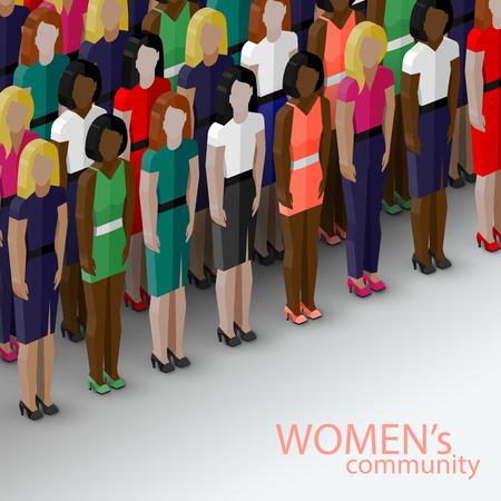 feministische: vector isometrische 3d illustratie van vrouwen gemeenschap met een grote groep van meisjes en vrouwen. feministische begrip
