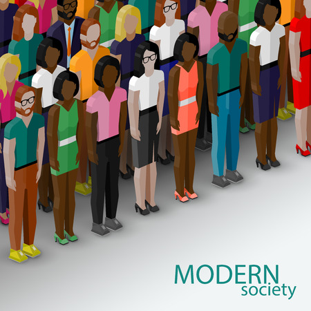 neighbourhood: vector 3d isometric  illustration of society members with a large group of men and women. population. modern society concept