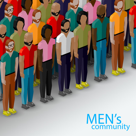 employer: vector 3d isometric  illustration of male community with a large group of guys and men. urban lifestyle concept