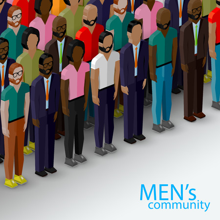 subculture: vector 3d isometric  illustration of male community with a large group of guys and men. urban lifestyle concept