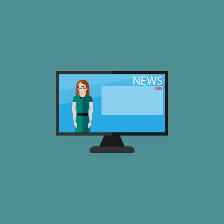 telecast: vector flat  illustration of female TV newscaster. breaking news