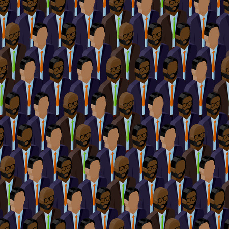 vector seamless pattern with men (businessmen or politicians) crowd. 3d isometric  illustration of business or politics community. summit or conference family image Vector