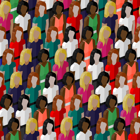 vector seamless pattern with a large group of girls and women. 3d isometric  illustration of female community. Illustration