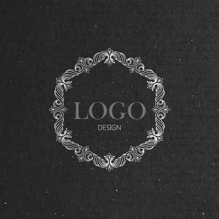 vector illustration with floral frame on cardboard texture. graceful line art logo design element