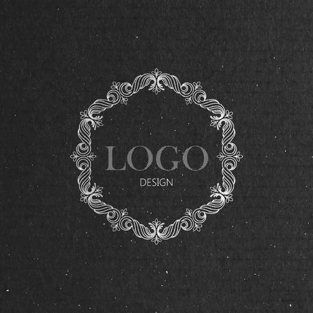 vector illustration with floral frame on cardboard texture. graceful line art logo design element Vector