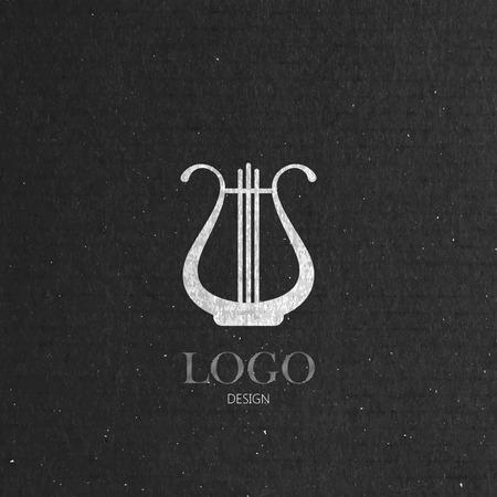 vector illustration with the harp on cardboard texture. music logo design Illustration