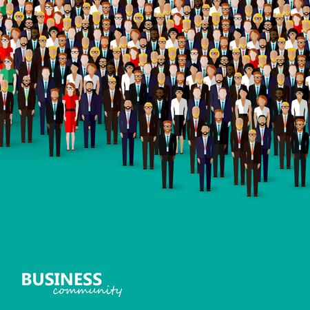 Ilustración del vector del plano de la comunidad de negocios o la política. una multitud de hombres y mujeres (empresarios o políticos) vistiendo trajes, corbatas y vestidos.