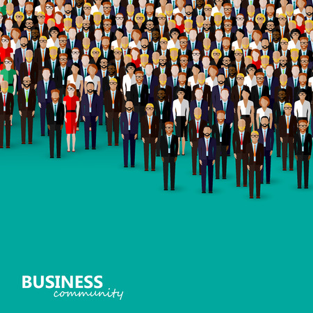 community: vector flat illustration of business or politics community. a crowd of men and women (business community or politicians) wearing suits, ties and dresses. Illustration